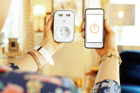 Photo for Closeup on smartphone with smart home app and wifi smart plug in hand of modern housewife in the house. - Royalty Free Image
