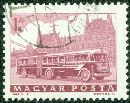 HUNGARY - CIRCA 1962  A stamp printed in Hungary shows image of a trolley bus, circa 1962