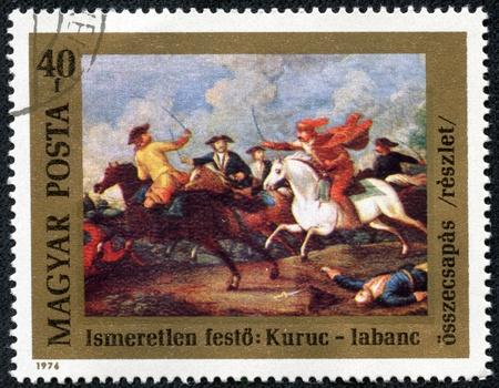 HUNGARY - CIRCA 1976  A stamp printed in Hungary issued for the 300th Birth Anniversary of Prince Ferenc Rakoczi II shows the clash between Rakoczi s Kuruts and Hapsburg Soldiers, circa 1976