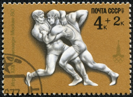 USSR - CIRCA 1977  A stamp printed in USSR shows Greco-Roman wrestling, with inscription and name of series  Games of XXII Olympiad, Moscow 1980 , circa 1977