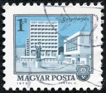 HUNGARY - CIRCA 1972  A stamp printed in Hungary shows a view of Salgotarjan, circa 1972