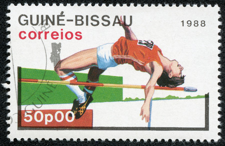 GUINEA-BISSAU - CIRCA 1988  A stamp printed in Guinea-Bissau showing high jump, 1988 Summer Olympics, Seoul, circa 1988
