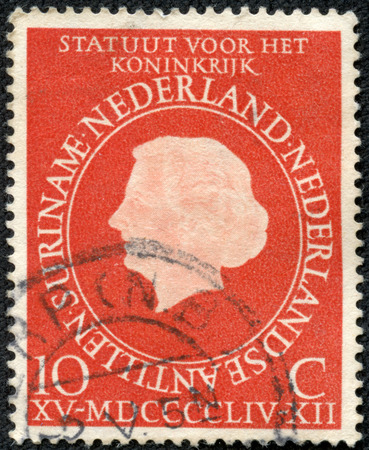NETHERLANDS ANTILLES - CIRCA 1954: A stamp printed in Netherlands Antilles shows image celebrating a devolution of power from the Netherlands in 1954, series, circa 1954
