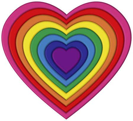 Heart shaped rainbow flag