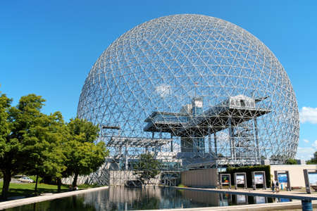 Montreal, Canada - August 9, 2008: the geodesic dome called Montreal Biosphere is a museum in Montreal dedicated to water and the environment. It is located at Parc Jean-Drapeau, on Saint Helen's Island in the building of the United States pavilion for th