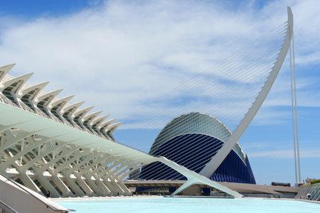 Valencia, Spain - June 01, 2010  detail of Museum of Sciences Principe Felipe  on the left , Assut de l