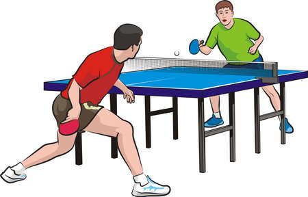 two players play table tennis
