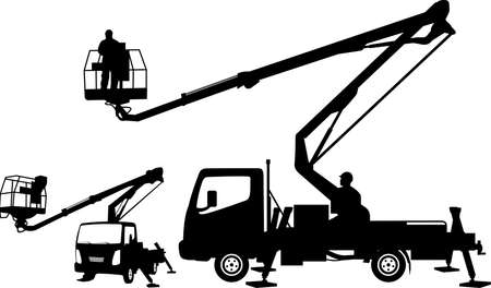 Illustration for bucket truck silhouettes - Royalty Free Image