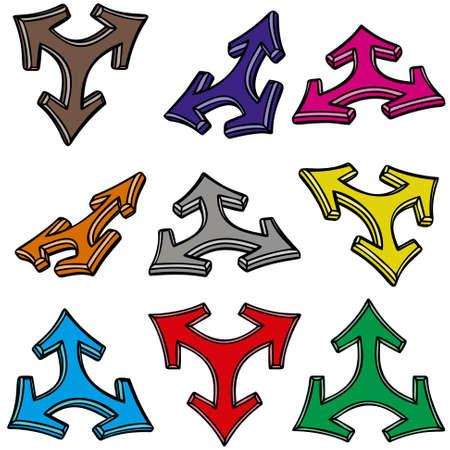 Nine 3d arrows