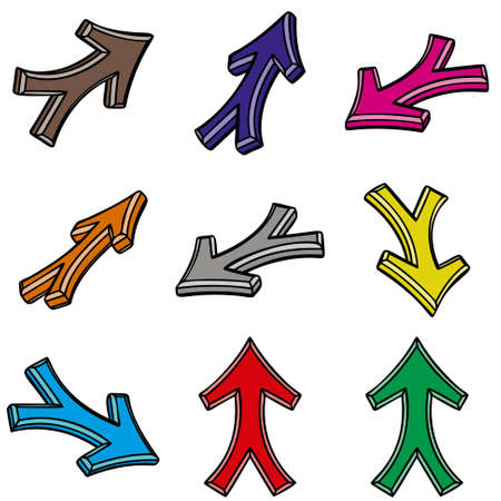 The nine 3d arrows on white background