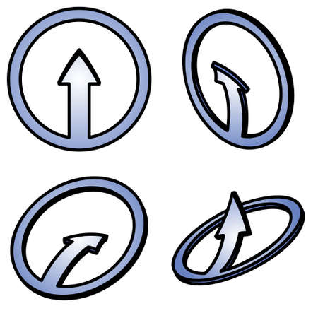 Four   blue arrows on a white background