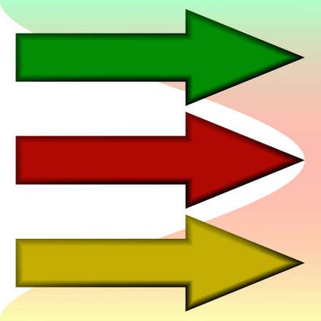 Vector illustration of the three arrows (mesh)