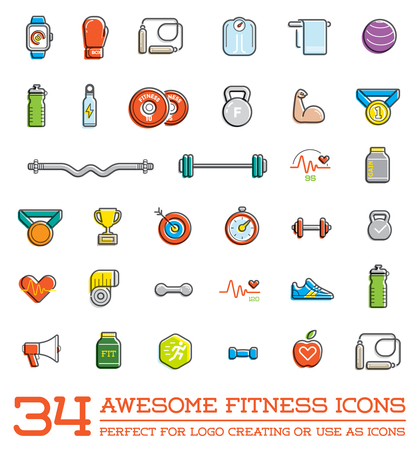 Illustration for Set of Fitness Aerobics Gym Elements and Fitness Icons Illustration - Royalty Free Image