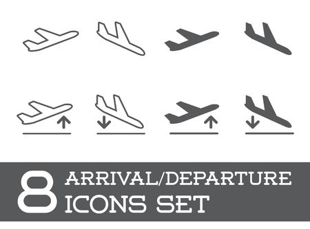 Ilustración de Aircraft or Airplane Icons Set Collection Silhouette, Arrivals and Departure - Imagen libre de derechos