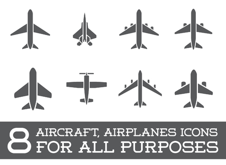 Illustration pour Aircraft or Airplane Icons Set Collection Silhouette - image libre de droit