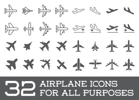 Illustration pour Aircraft or Airplane Icons Set Collection - image libre de droit