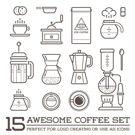Illustration pour Set of Coffee Elements and Coffee Accessories Illustration - image libre de droit