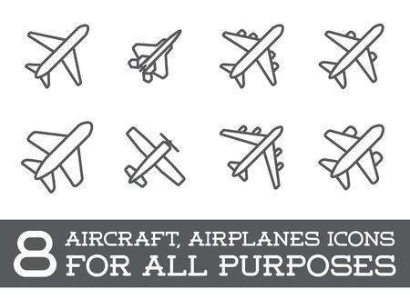 Ilustración de Aircraft or Airplane Icons Set Collection - Imagen libre de derechos