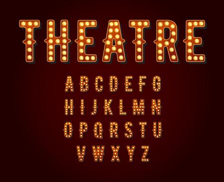 Illustration pour Casino or Broadway Signs style light bulb Alphabet - image libre de droit