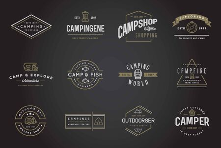 Illustration pour Set of Camping Camp Elements With Fictitious Names and Outdoor Activity Icons Illustration - image libre de droit