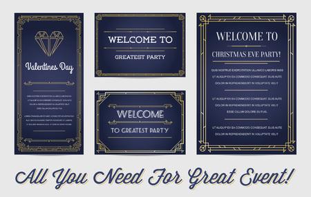 Ilustración de Great Style Invitation in Art Deco or Nouveau Epoch 1920's Gangster Empire or Boardwalk Era Vector Set for Main Event - Imagen libre de derechos