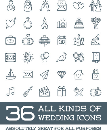 Photo pour All Kinds of Wedding Marriage or Bridal Icons Set Vector - image libre de droit