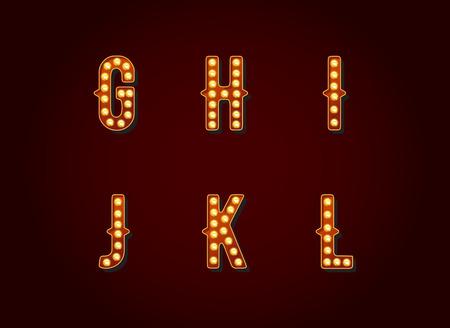 Illustration pour Casino or Broadway Signs style light bulb Alphabet Letter Character in Vector Set - image libre de droit