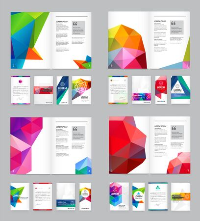 Illustration for Huge Set of Visual identity with letter  elements polygonal style Letterhead and geometric triangular design style brochure cover template mockups for business with Fictitious names - Royalty Free Image