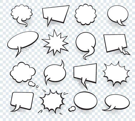 Illustration pour Set of blank template in Pop Art style. Vector Comic Text Speech Bubble Halftone Dot Background. Empty Cloud of Comics book dialog Space for Cartoon Box pop-art.  - image libre de droit