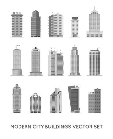 Foto de Modern City Buildings and Houses. Flat Vector Icons Set. - Imagen libre de derechos