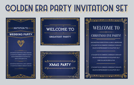 Illustration pour Great Christmas Invitation in Art Deco or Nouveau Epoch 1920's Gangster Empire or Boardwalk Era Style Vector Set for Main Event of the Year - image libre de droit