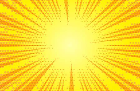 Illustration pour Comic yellow sun rays background pop art retro vector illustration. - image libre de droit