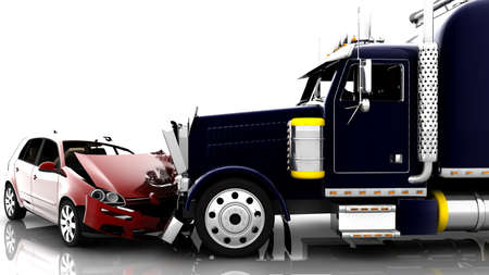 An accident between a red car and a truck