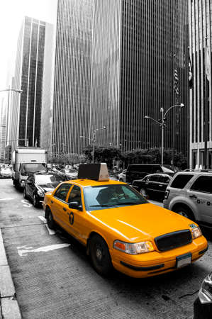 Yellow taxi in the black and white New York