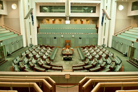 Inside House of Representatives, the lower house of the bicameral Parliament of Australia