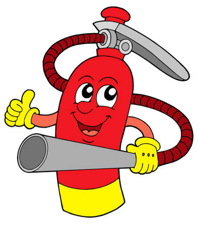 Red extinguisher with face - vector illustration.