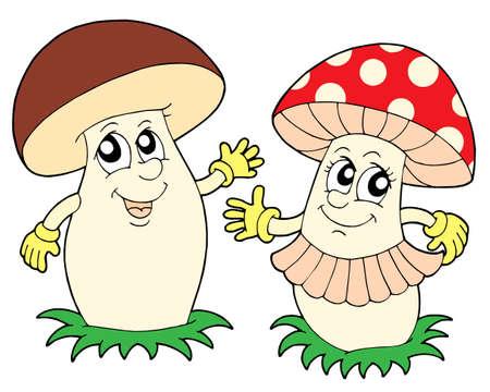 Mushroom and toadstool - vector illustration.