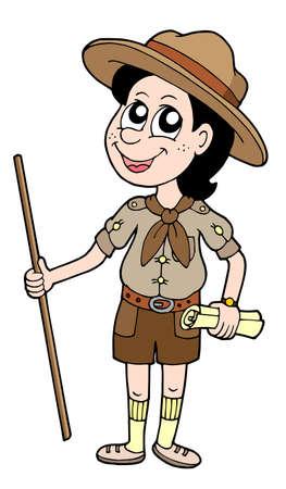 Ilustración de Boy scout with walking stick - vector illustration. - Imagen libre de derechos