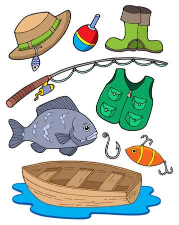 Fishing equipment on white background - vector illustration.