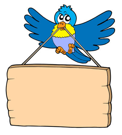 Bird with sign - vector illustration.