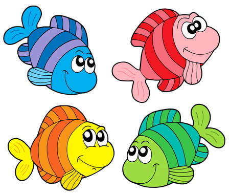 Striped fishes collection - vector illustration.