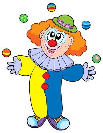 Juggling cartoon clown - vector illustration.