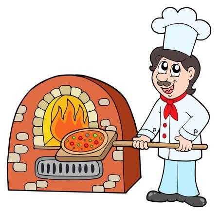 Chef baking pizza - vector illustration.