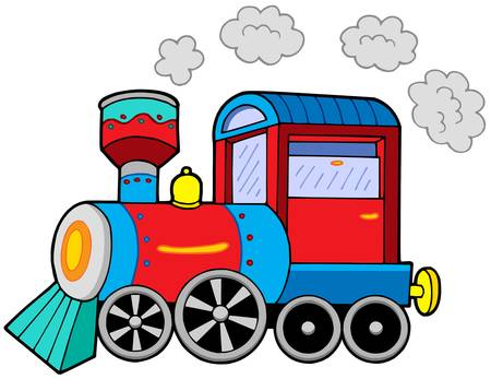 Steam locomotive on white background - vector illustration.