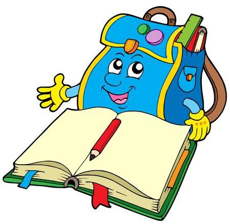 School bag reading book - vector illustration.
