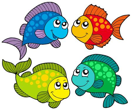Cute cartoon fishes collection - vector illustration.のイラスト素材