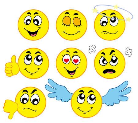 Various smileys 1 on white background - vector illustration.