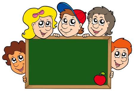School blackboard with children - vector illustration.
