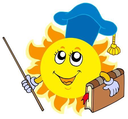 Sun teacher on white background - vector illustration.