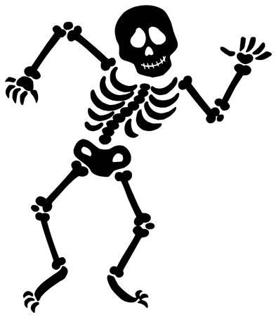 Dancing skeleton silhouette - vector illustration.